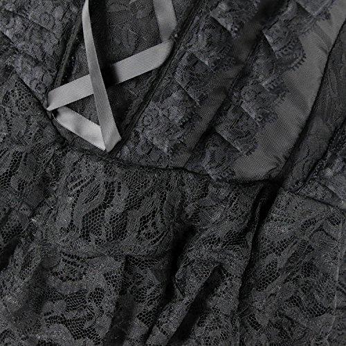 Cancan Black Showgirl Dress Kimring Victorian Vintage Costume Women's Corset Steampunk 0wwpzTqx