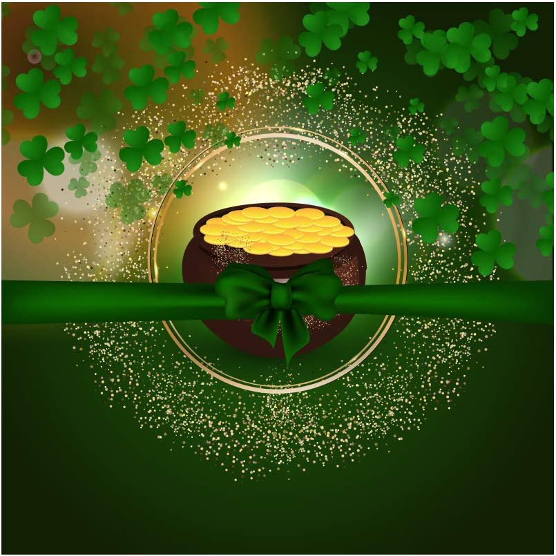 DORCEV 5x5ft Happy Saint Patricks Day Backdrop St Patricks Day Party Photography Background Pot of Gold Coin Green Bowknot Lucky Shamrock Festival Party Banner Child Adults Photo Studio Props