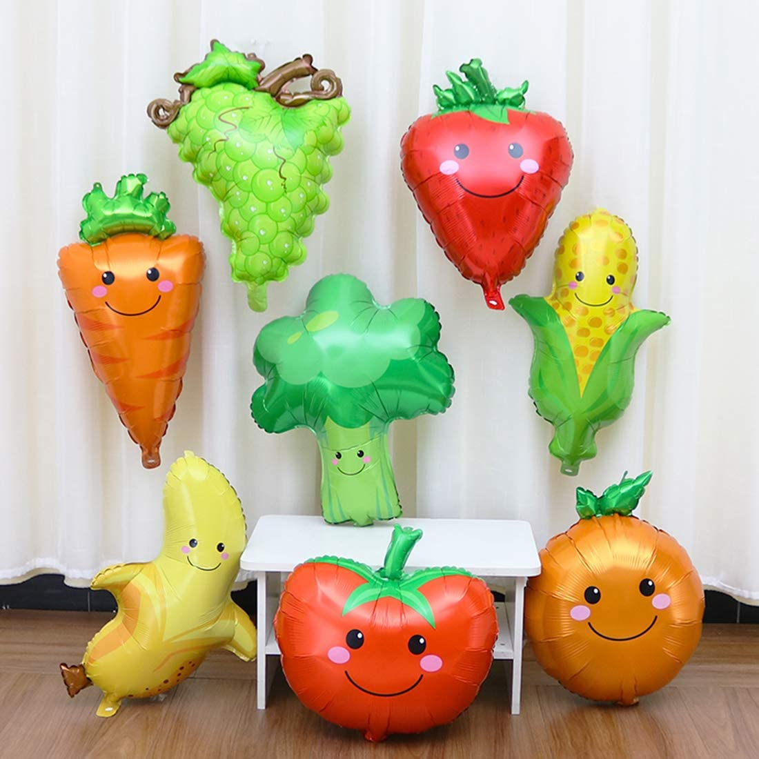 GIHOO 8pcs Fruit & Vegetable Aluminum foil Balloons for Party Decoration Fruit Birthday Aluminum Foil Helium Balloon for Summer Party Wedding Birthday Baby Shower Party Supplies