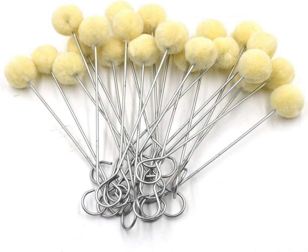 Uooker 50 paquetes de lana Daubers cepillo de pelota, herramienta de tinte de cuero, mango de metal, artesanía en cuero, proyectos de manualidades
