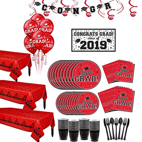 Party City Super Congrats Grad Red 2019 Graduation Party Supplies for 54 Guests with Tableware and Balloons
