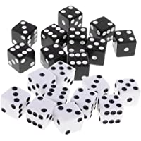 Phenovo Pack of 20 Black+White Square 6 Sided Dices Die 1.6cm for Party Casino Table Card Game Accessory