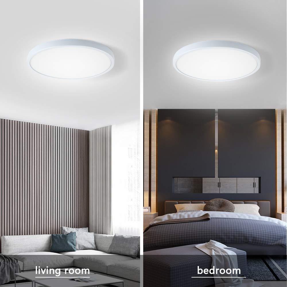 FSBMIN LED Deckenleuchte Tageslichtwei/ß LED Deckenlampe 6000K 24W 2520lm ideal f/ür Kellerr/äume Flur Balkon Wohnzimmer Korridor Esszimmer Schlafzimmer Kinderzimmer