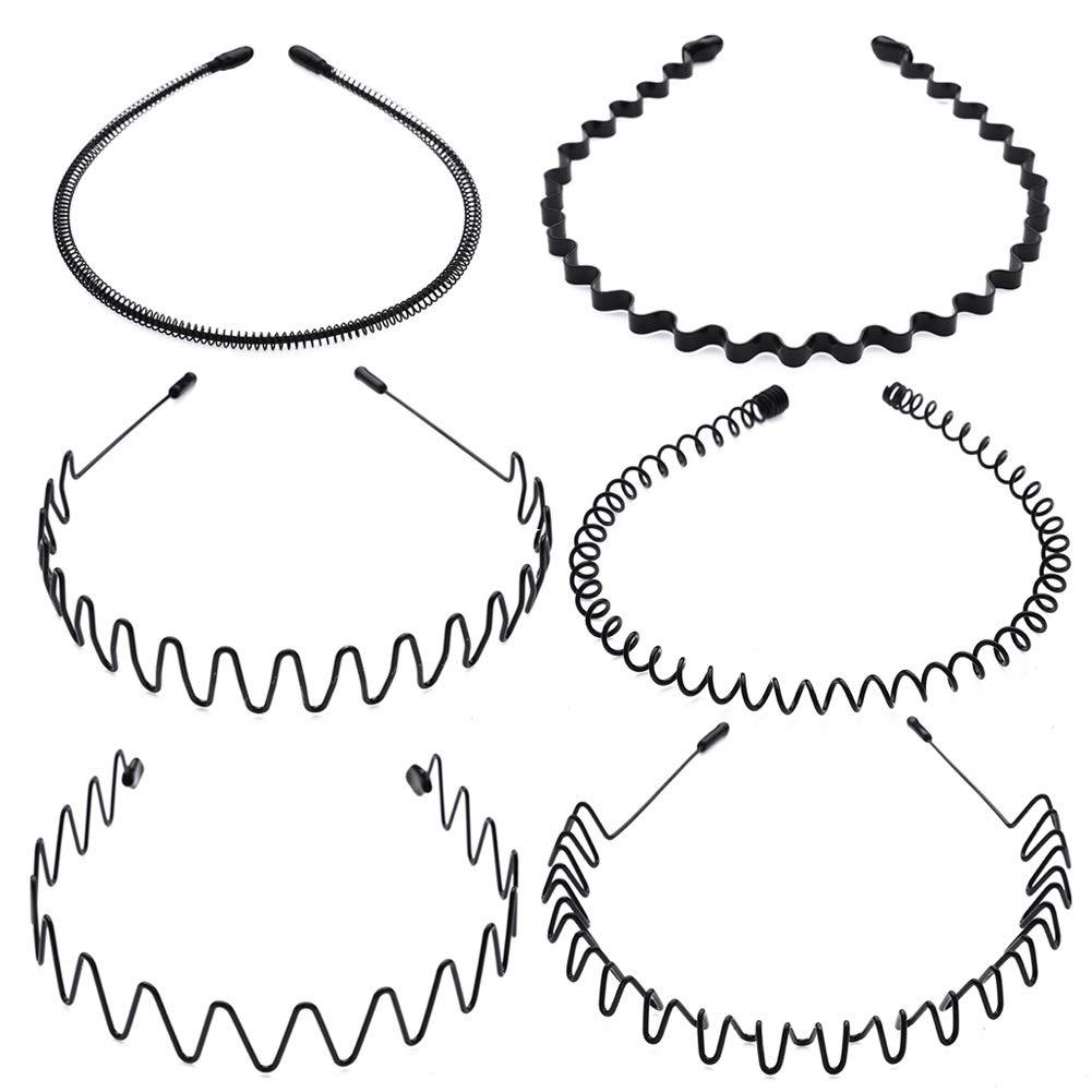 AIM Cloudbed 6 PCS Metal Headband Black Hair Hoop Spring Wave Hairband Multi-Style Unisex Flexible Headbands Accessories for Women Men