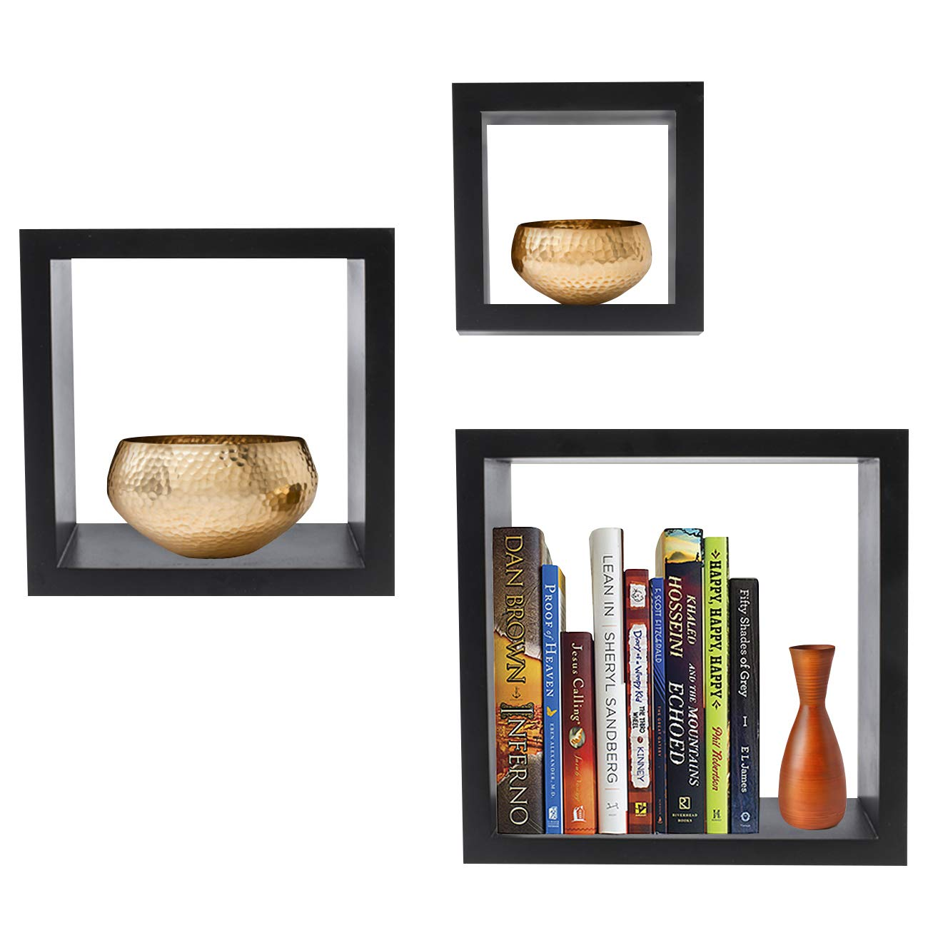 Sorbus Floating Shelves— Square Shaped Hanging Wall Shelves for Decoration - Features Shadow Square Frame Design for Photo Frames, Collectibles, Decorative Items, and Much More (Set of 3, Black)