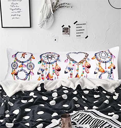 ARIGHTEX Watercolor Dreamcatcher Body Pillowcase Girls Pillow Cases Boho Home Decorative Bed Pillow Covers with Zipper 20x 54 (1 Piece) zipper along whole side
