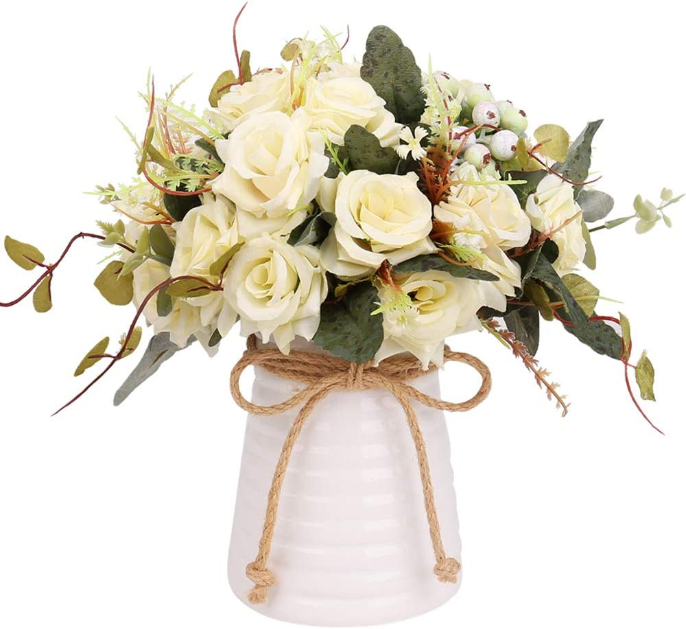 YILIYAJIA Artificial Flowers in Vase Silk Rose Flower Arrangements Fake Faux Flowers Bouquets with Ceramics Vase Table Centerpieces for Dinning Roon Table Kitchen Decoration(Champagne-B)