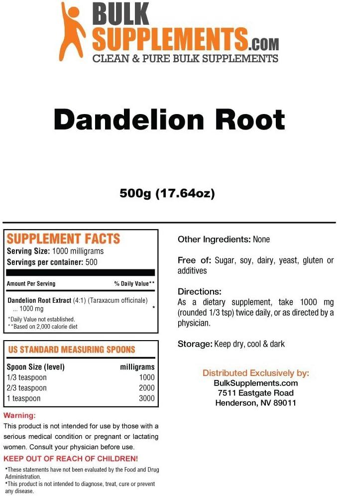 Bulksupplements Dandelion Root Extract Powder 25 kilograms