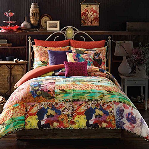 3 Piece Rainbow Floral Comforter King Set Beautiful All