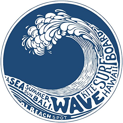 (Oval wave kite surfboard 4x4 inches sticker decal die cut vinyl - Made and Shipped in)