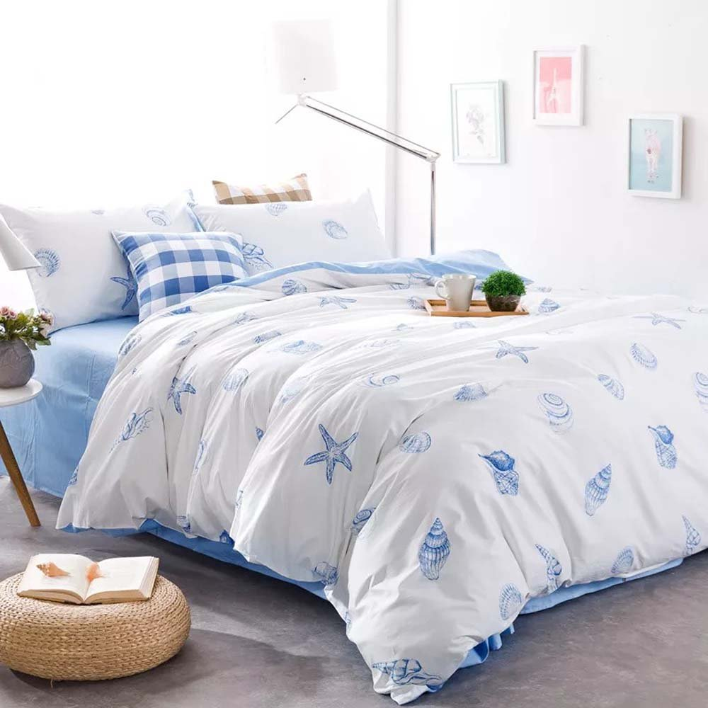 Brandream Seashells Bedding Sets Full Size Blue Nautical Bedding
