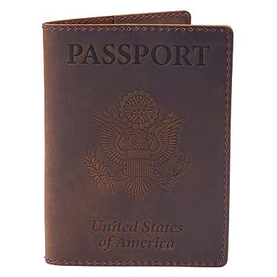 Leather Passport Cover - Passport Holder Case for Men & Women