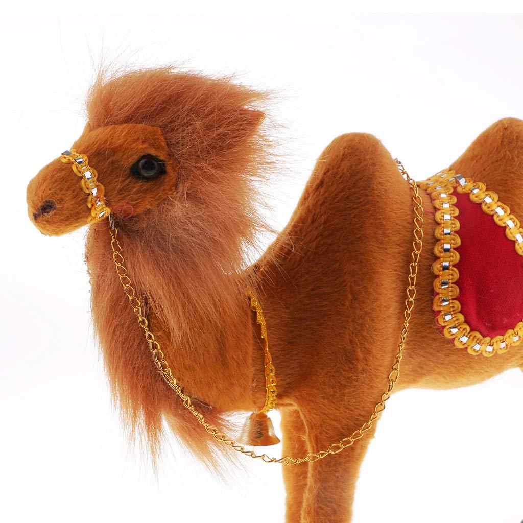 Faux Fur Simulation Camel Model Toy Animal Figure Home Decoration 25x7x22cm