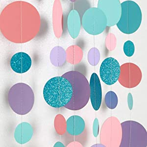 Decor365 Coral Purple Blue Circle Dot Garland Party Decoration Summer Mermaid/Under The Sea/Beach/Pool Side Hanging Bubble Streamer Backdrop Bunting Banner for Wedding/Baby Shower/Birthday/Kids Room
