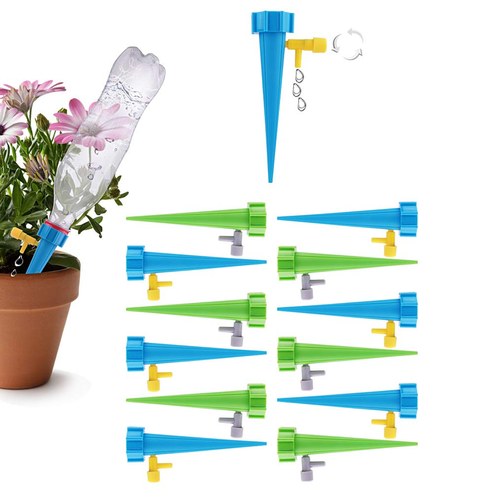 SIMENMAX 12 PCS Plant Waterer Self Watering Spikes System with Slow Release Control Valve Switch Self Irrigation Watering Drip Devices for Outdoor Indoor Flower or Vegetables