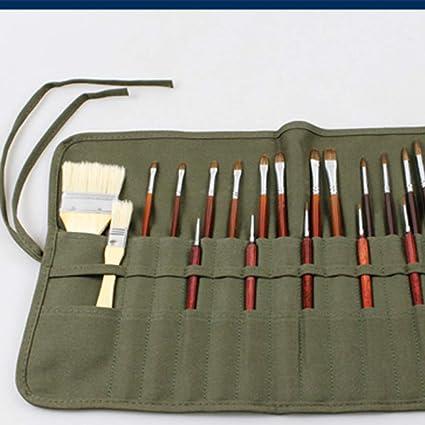 Hunpta - Estuche para lápices (22 ranuras, para almacenamiento de pinceles de acrílico, acuarela, color verde: Amazon.es: Bricolaje y herramientas