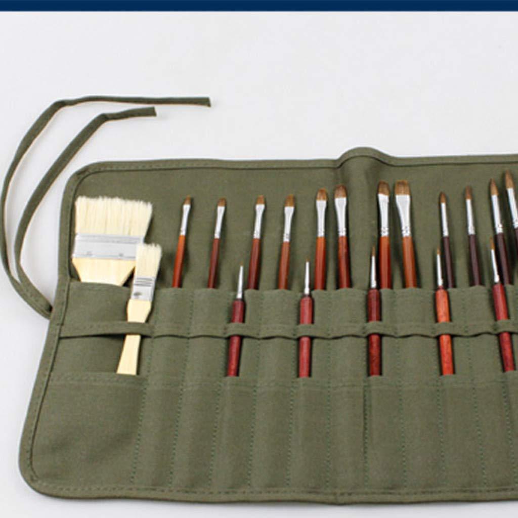 22 ranuras para pinceles de pintura pinceles de lona bolsa enrollable para pinceles de pintura al /óleo 40 x 33 cm, verde militar 40 x 33 cm bolsa para proteger la pintura al /óleo