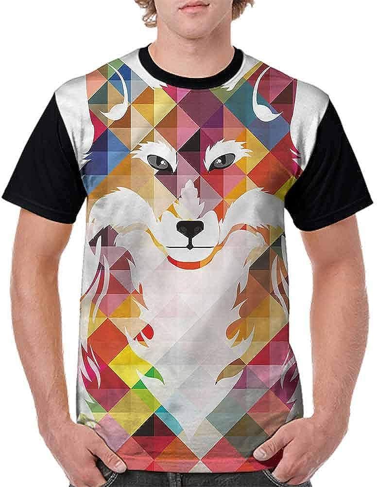 Unisex T-Shirt,Fractal Fox of The Woodland Fashion Personality Customization