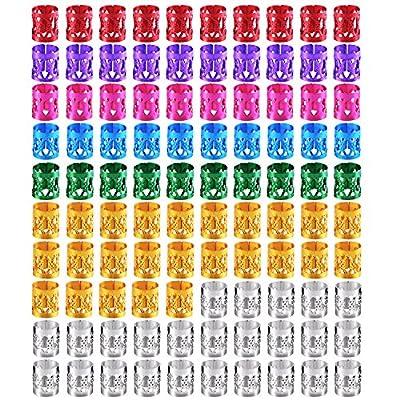 Sumind 100 Pieces Dreadlocks Metal Hair Cuffs Hair Braiding Beads Filigree Hair Accessory, Assorted Colors
