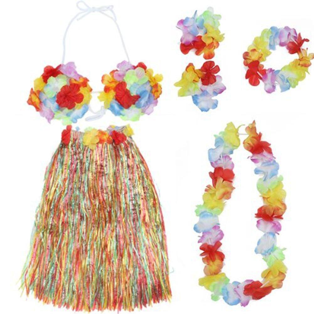 Ecloud Shop 2 pieces Halloween Masquerade hawaïenne Hula guirlandes robe de costume jupe