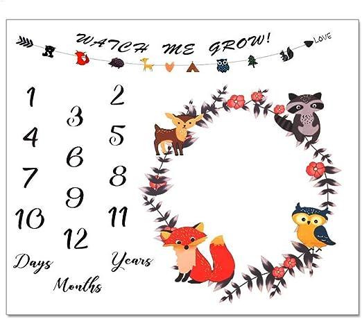 Yanhonin Couverture Mensuel B/éb/é Baby Photo Couverture Cadeaux Douche pour Gar/çons Ou Filles Nouveau-n/é Mensuel Milestone