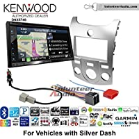 Volunteer Audio Kenwood DNX574S Double Din Radio Install Kit with GPS Navigation Apple CarPlay Android Auto Fits 2011-2013 Kia Forte (Silver)