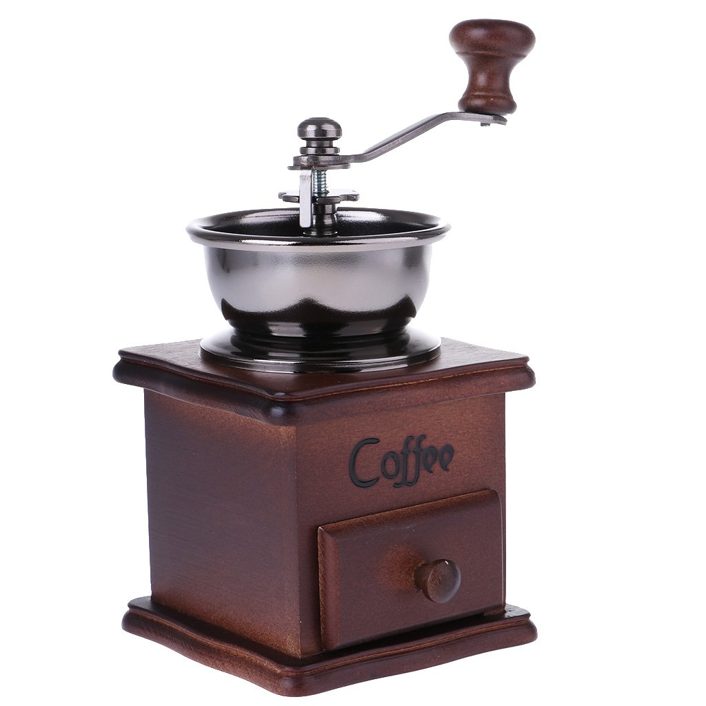 MagiDeal Solid Wood Hand Crank Coffee Stainless Steel Movement Coffee Grinder