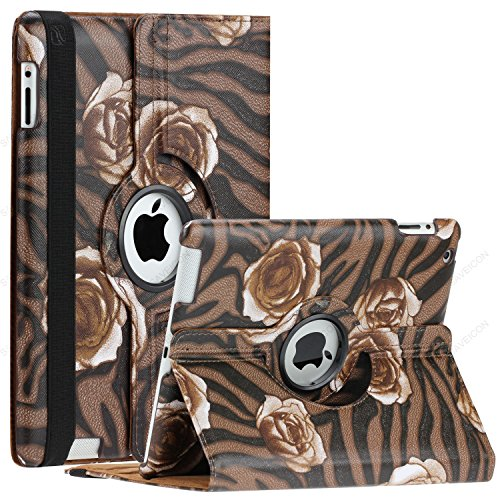 SAVEICON (TM) Leopard Rose Flower Map Pattern 360 Degrees Swivel Rotating PU Leather Case Smart Cover with Stand and Sleep/Wake Function for Apple iPad 4 with Retina Display, iPad 3, iPad 2 (iPad 4/iPad 3/iPad 2, Pattern O)