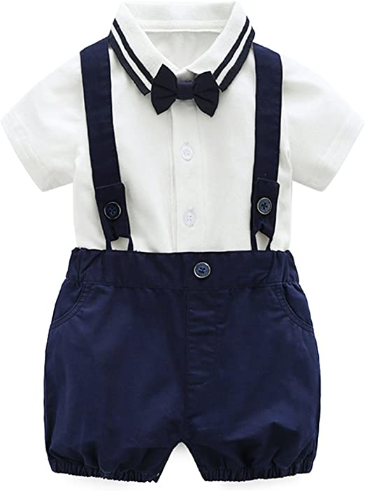 3PCS Newborn Baby Gentleman Boy Outfit Set Suit T-shirt+Overall Bib Pant+Bow Tie