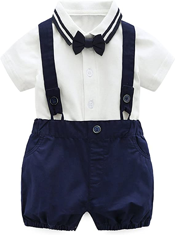 Newborn Baby Boys Gentleman Outfits Suits Infant Short Sleeve Shirt+Bib Pants+Bow Tie Overalls Clothes Set