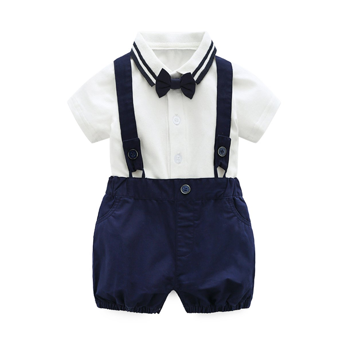 Baby Boys Gentleman Outfits Wedding Suits, Infant Short Sleeve Shirt+Bib Pants+Bow Tie Overalls Clothes Set