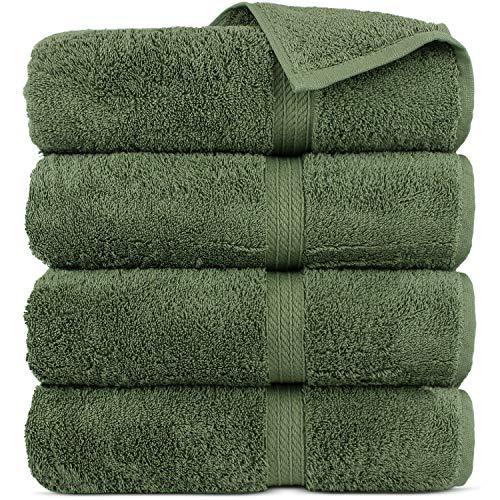 Premium Turkish Cotton 4-Piece Towel Set for Bath, Moss Green