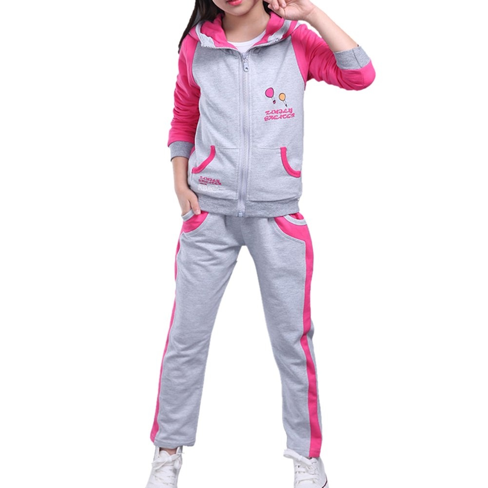 Vividda Girls Printed 2 Pieces Jacket & Trousers Sports Hoodie Bottom Joggers