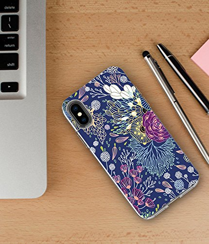 iPhone X Case,TRFAEE Magic Flowers Floral Pattern Anti Scratch Shock Absorption Clear Soft Rubber TPU Drop Protective Case Cover for Apple iPhone X