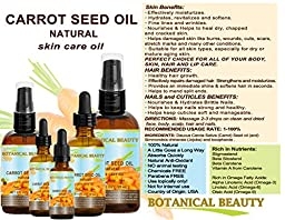 CARROT SEED OIL 100 % Natural Cold Pressed Carrier Oil. 0.33 Fl.oz.- 10 ml. Skin, Body, Hair and Lip Care. \