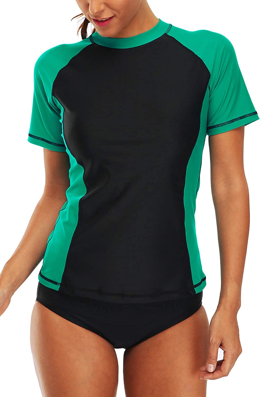 Shirt Swimwear Top ALove Women Short Sleeve Rashguard Swimsuit UPF 50