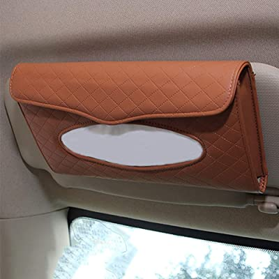 Cartisen Car Tissue Holder, Sun Visor Tissue Holder, Car Visor Napkin Holder, PU Leather Backseat Tissue Case for Car/Truck (Brown): Automotive