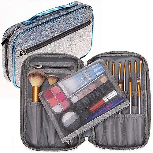 Bysiter Professional Cosmetic Makeup Brush organizer Bag Makeup Artist Case with Belt Strap Holder Mesh Bag Multifunctional Cosmetic Makeup Bag Handbag for Travel & Home (Starry Sky Glitter Sequins)