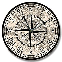 Fancy This Compass Rose with Old map Pattern Wall Clock - Beachy and Antique Home Decor