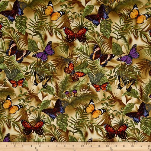 Timeless Treasures Rain Butterfly Neutral Fabric by The Yard ()