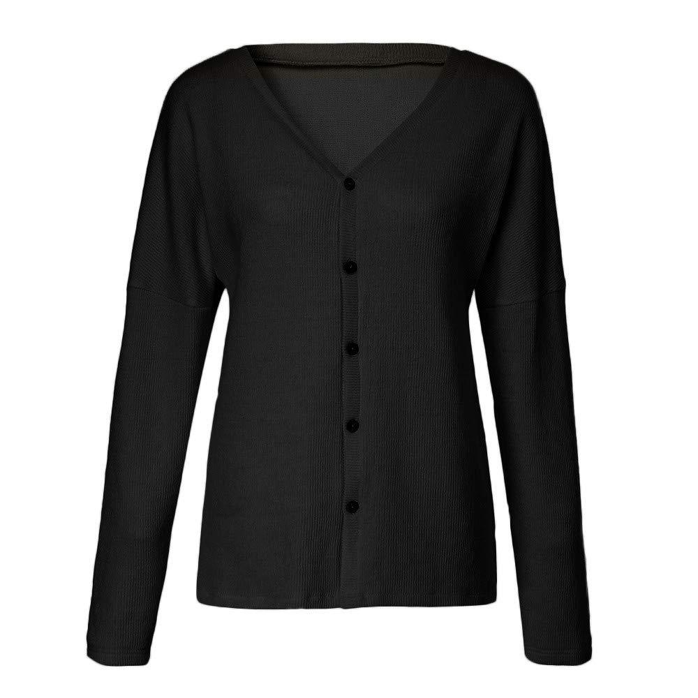 VRTUR Damen Stricken Pullover Beil/äufig Reversible Cardigan mit Schulterkn/öpfen Solide Bluse Sweatshirt Tops Bluse