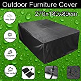 feifei Rectangular/Oval Patio Table Cover, Waterproof Garden Outdoor Rectangle Table & Chair Cover, Furniture Protection Black (106'' x 70'' x 35'')