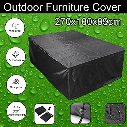 feifei Rectangular/Oval Patio Table Cover, Waterproof Garden Outdoor Rectangle Table & Chair Cover, Furniture Protection Black (106'' x 70'' x 35'') by feifei