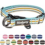 Blueberry Pet 15 Colors 3M Reflective Multi-Colored Stripe Dog Collar, Pastel Blue and Beige, Medium, Neck 14.5''-20'', Adjustable Collars for Dogs