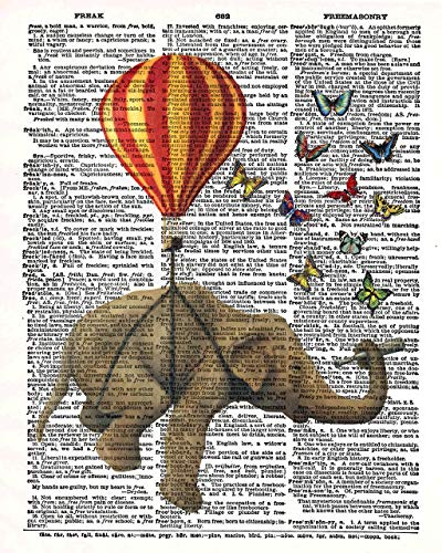 Elephant Hot Air Balloon Butterflies Vintage Dictionary Style Art Print | Unframed | 8.5 x 11