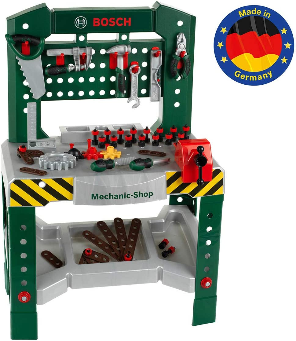 Theo Klein-8574 Bosch Banco De Trabajo con 77 Piezas, Color Verde, Gris, Rojo (8574)