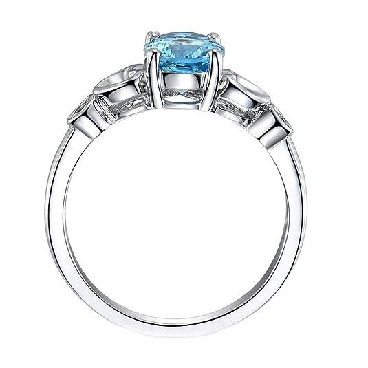 Blisfille Joyas Anillo de Boda Acero Anillo de Oval Shape Anillos de Compromiso con Diamante Anillo de Plata de Ley 925,Plata del Tamaño 6,75-25: Amazon.es: ...