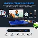 """TENKER 12.5"""" Portable DVD Player for Car with 10.5"""" Eyesight Protective HD Swivel Screen,Built-in 5 Hours Rechargeable Battery,Support USB/SD Card Memory Readers,Regions Free,Blue"""