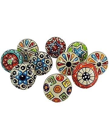 Dorpmarket 10 Pièces Ensemble De Boutons De Cabinet Coloré En Céramique à  Pois Poignée De Meuble