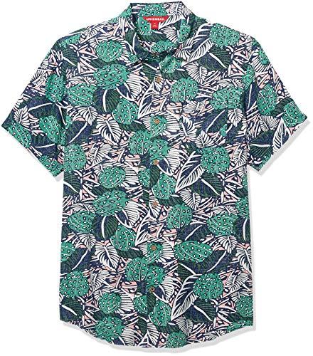 UNIONBAY Men's Bradley Short Sleeve Rayon Button-up Woven Shirt, New Emerald Medium